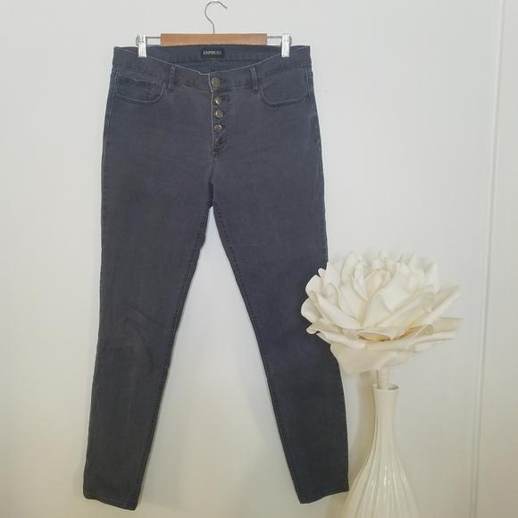 Express Denim - Express Denim High Waisted Button Fly Gray Jeans